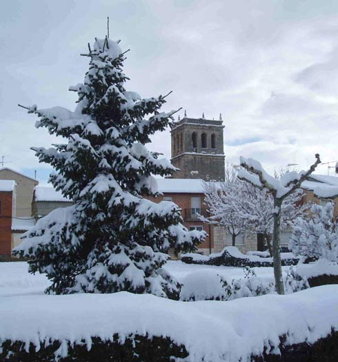 La silueta de su inconfundible torre del siglo XVI caracteriza a Vadocondes.