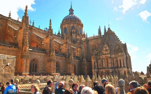 Clase práctica al aire libre en los tejados de la Catedral de Salamanca