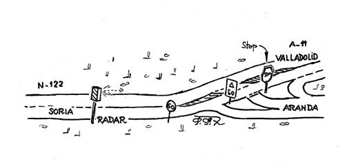 Esquema simplificado del famoso y fatídico cruce de Fresnillo de las Dueñas