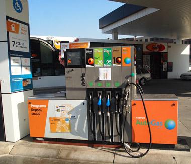 Contorno circular para gasolinas, cuadrado para gasóleos y romboidal para combustibles gaseiformes