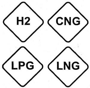 Hidrógeno; gas natural comprimido; gas licuado de petróleo y gas natural licuado, respectivamente
