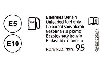 Prototipo de etiqueta para vehículos provistos de motor de gasolina