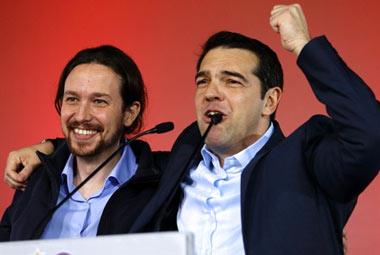 Mitin Alexis Tsipras y Pablo Iglesias