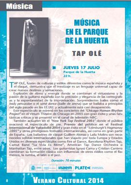 """Música en el Parque de la Huerta """"Tap Olé"""""""