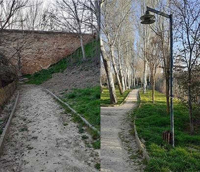 Escalera de acceso en Puente | Farola fuera de servicio