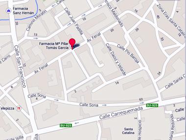 Google Maps: Callejero de la zona del Ferial