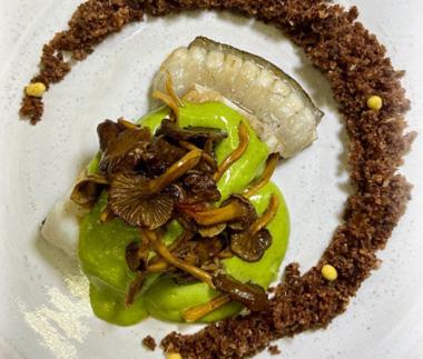 Rodaballo, crumble de setas y angulas de monte con mahonesa clorofilada