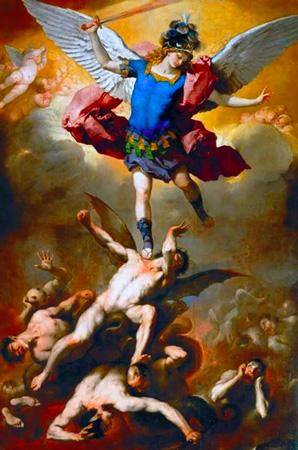El Árcangel san Miguel expulsa a Satanás y a los demonios del cielo| Luca Giordano