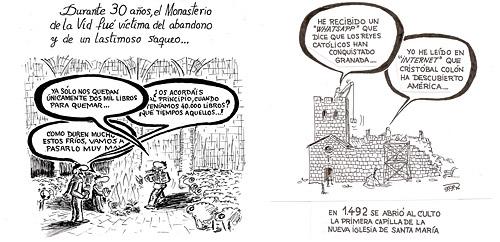 Historia del monasterio de la Vid. Abandonado tras la desamortización de Mendizábal y Construcción de la Iglesia de Santa María