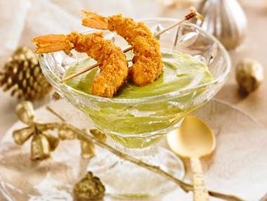 Crema fría de calabacín con langostinos crujientes