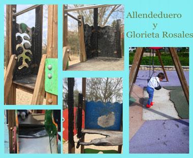 Estado de los parques infantiles en Glorieta Rosales y Allendeduero
