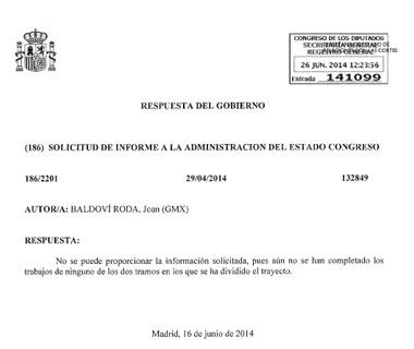 Respuesta del Ministerio de Fomento