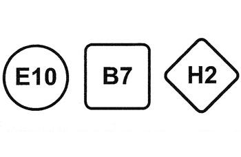 Un círculo para las gasolinas, un cuadrado para los gasóleos y un rombo para los combustibles gaseiformes