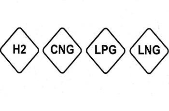 Hidrógeno; gás natural comprimido; gás licuado de petróleo y gás natural licuado, respectivamente