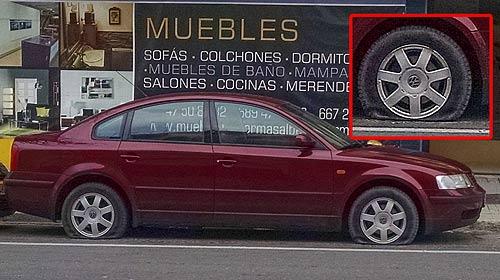 Fotografía: Uno de los vehículos afectados por los actos vandálicos