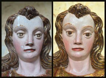 Rostro de san Miguel antes y después ser restaurado