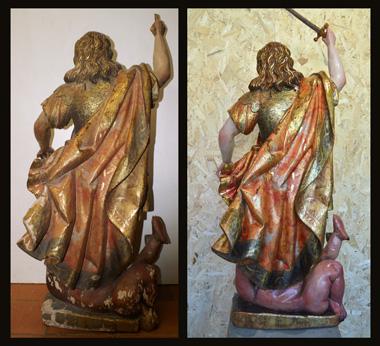 Vista posterior; antes y después de la restauración