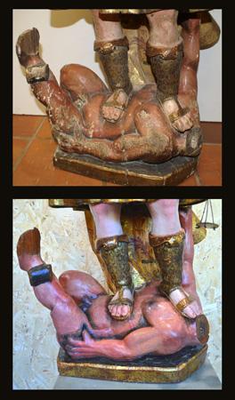 El demonio antes y después de la restauración
