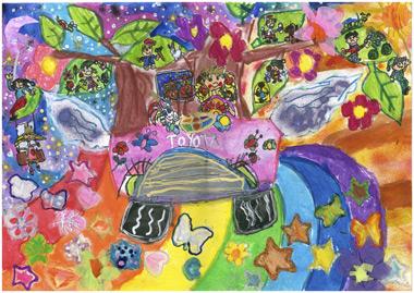 Coche árbol ecológico y mágico', dibujo de Nerea Ullán (6 años)