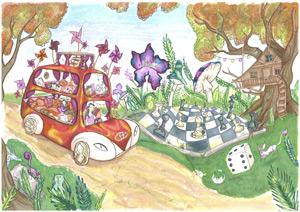 'El coche mágico del viento', dibujo de Inés Sánchez (13 años)